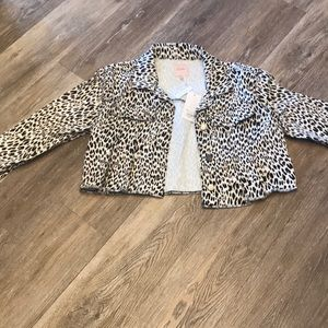 Candies - cropped leopard jeans jacket